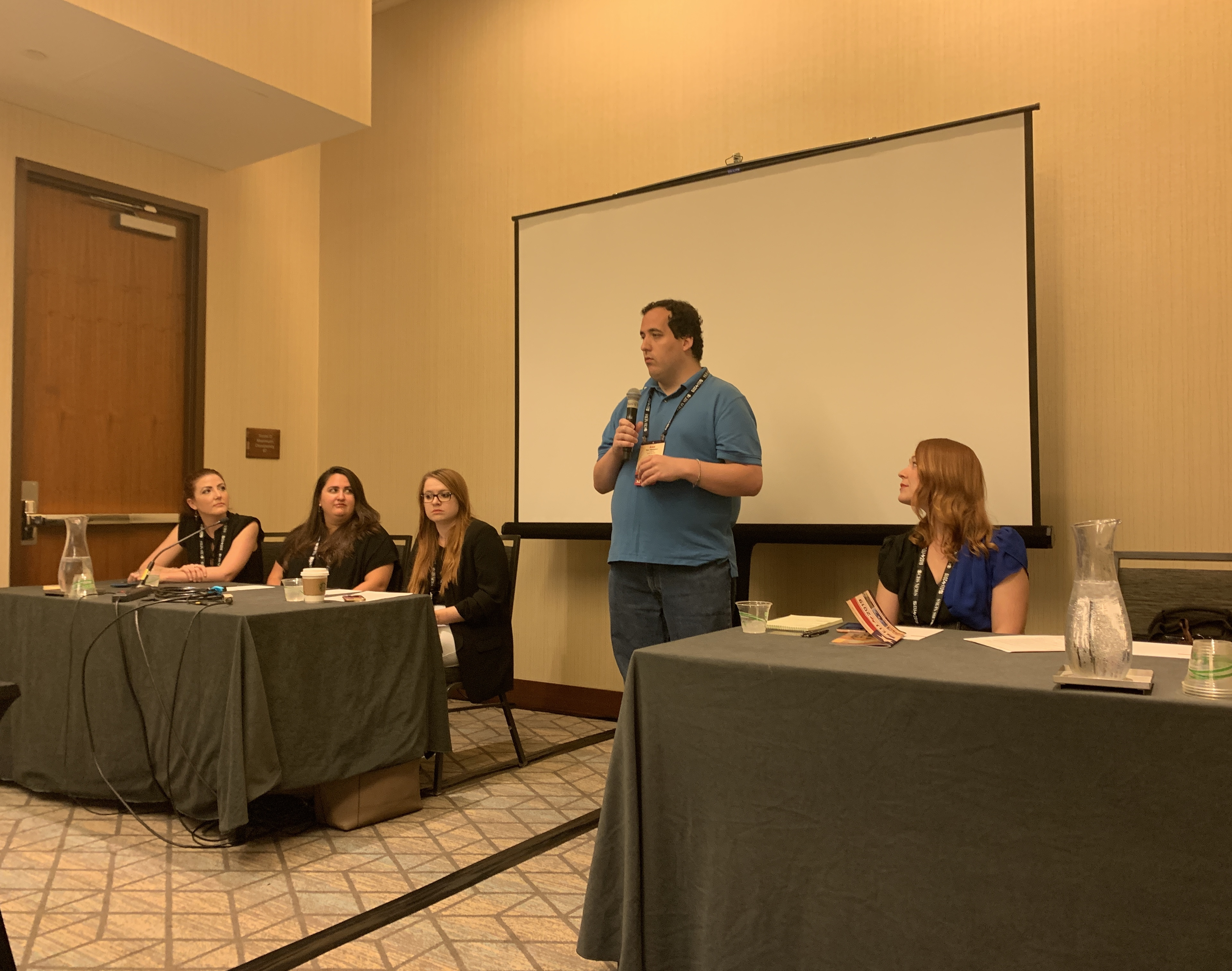 """EIJ Conference speakers of the workshop """"280 Character News: Staying Ethical When News Breaks on Twitter."""" Panelists (left to right) Brandi Smith, Ashley Lopez, Natalie Moore, Lauren McGaughy with moderator Alex Veeneman."""