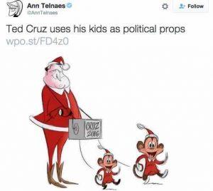 Political cartoon of Ted Cruz dressed as Organ Grinder